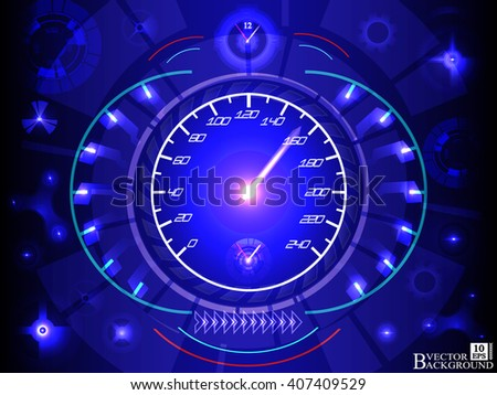 Abstract car speedomete on blue color background. Vector illustration.