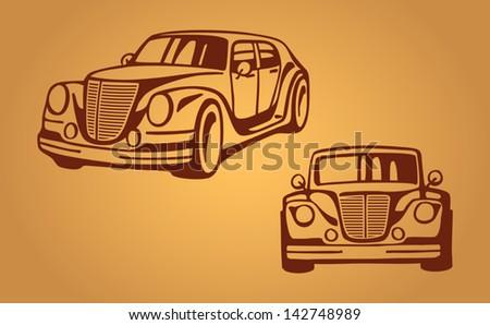 Abstract car, stylization, vector - stock vector