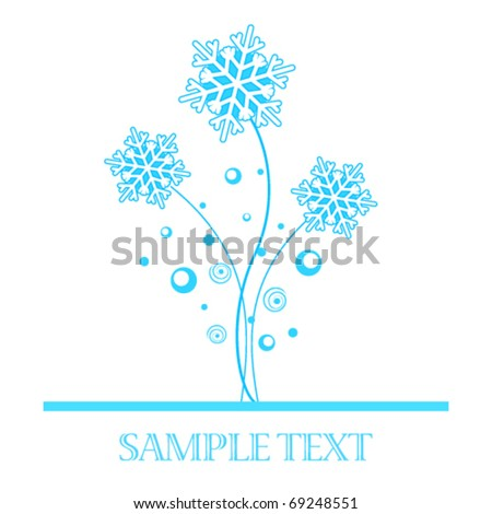 Abstract card on white background with snowflakes - stock vector