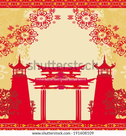 Abstract card with Asian buildings , vintage frame - stock vector