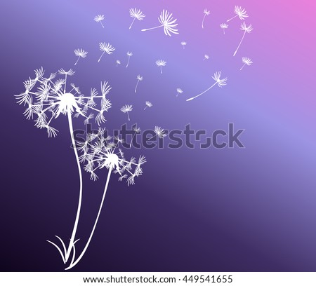 abstract card with dandelions vector background - stock vector