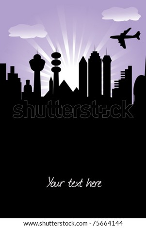 Abstract card with futuristic town - stock vector