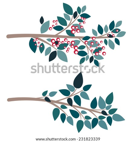 Abstract cartoon tree branch in flat colors. - stock vector