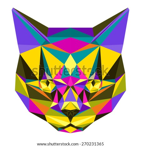 Abstract cat. Bright motley colored polygonal triangle geometric illustration isolated on white background for use in design for card, invitation, poster, banner, book, placard or billboard cover. - stock vector