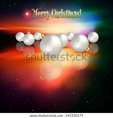 Abstract celebration background with Christmas decorations and stars - stock vector