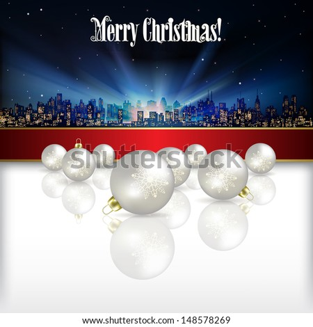 Abstract celebration background with silhouette of city and Christmas decorations - stock vector