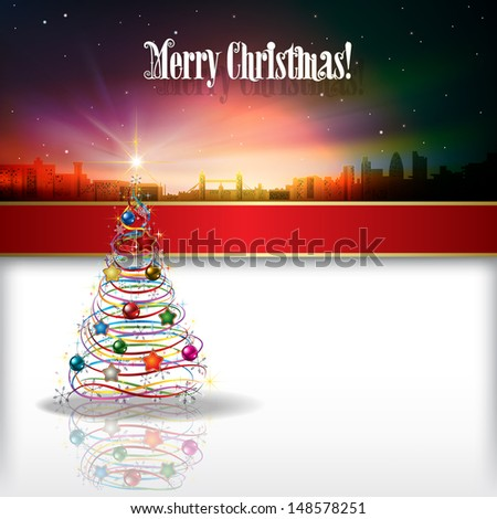 Abstract celebration background with silhouette of London and Christmas tree - stock vector