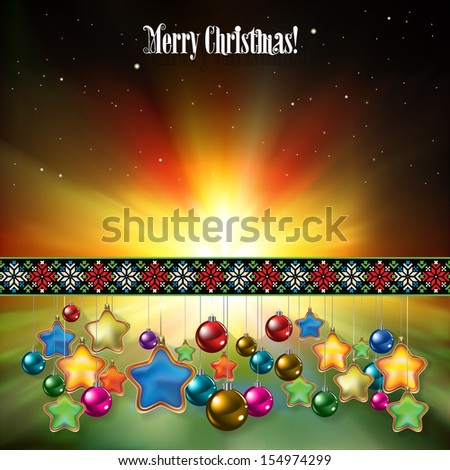 Abstract celebration greeting with Christmas decorations on green - stock vector
