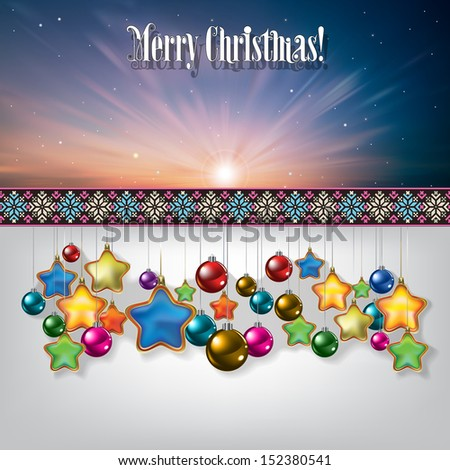 Abstract celebration greeting with Christmas decorations on white - stock vector