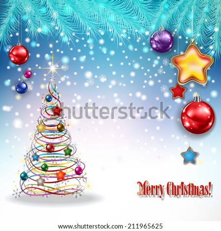 abstract celebration greeting with Christmas tree and decorations - stock vector