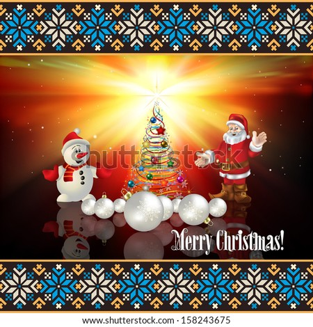abstract celebration greeting with Christmas tree and Santa Claus - stock vector