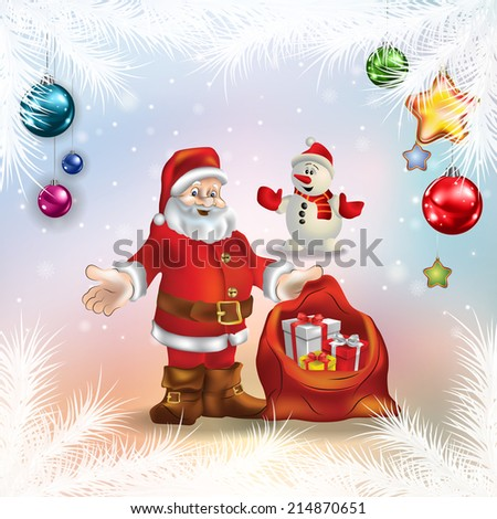 abstract celebration greeting with Santa Claus and christmas gifts - stock vector