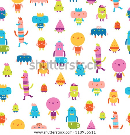 Abstract characters vector seamless pattern on white background - stock vector