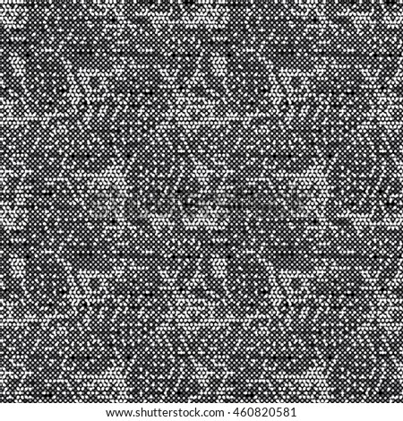 Abstract charcoal  flecked glitch textured background. Seamless pattern.