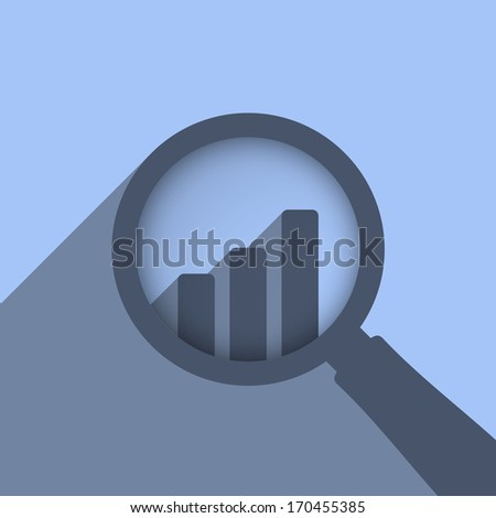 Abstract chart and magnifying glass, vector eps10 illustration - stock vector