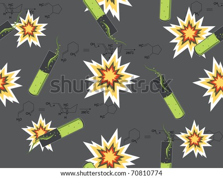 abstract chemical background with beakers, vector illustration