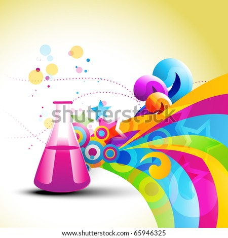 abstract chemical bottle in colorful background