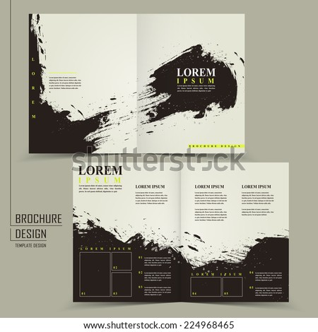 abstract Chinese calligraphy design for half-fold brochure template   - stock vector