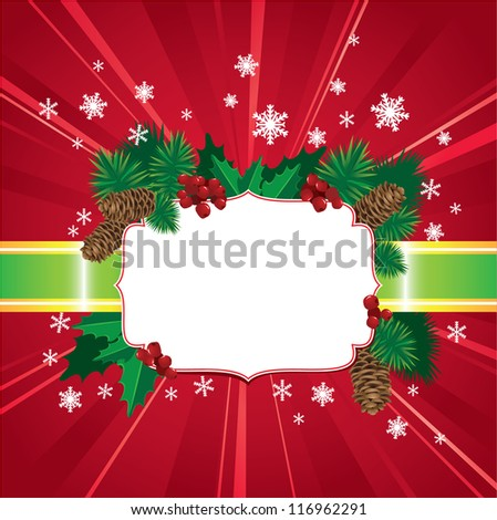 Abstract Christmas and New Year red background with holly berries and leafs and christmas tree - stock vector