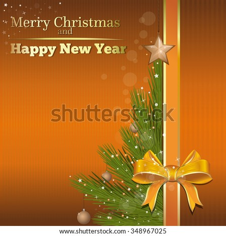 Abstract Christmas background for design. Christmas tree on a gold background. Merry Christmas and Happy New Year. Vector card.