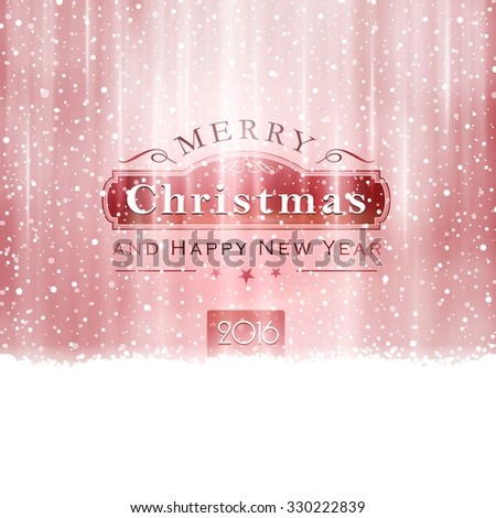 Abstract Christmas background in shades of silver red with snowfall and light effects to give it a festive feeling.  - stock vector