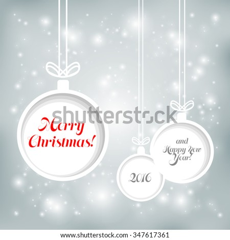 Abstract Christmas background with balls cut from paper. - stock vector