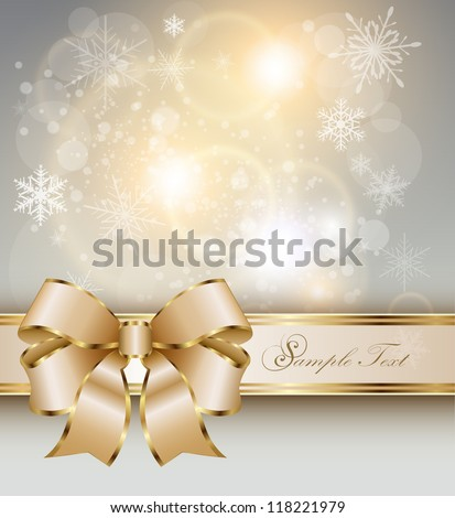 Abstract christmas background with elegant gold banner, snowflakes and a bow, vector. - stock vector