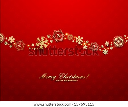 Abstract Christmas Background with Golden Snowflakes - stock vector