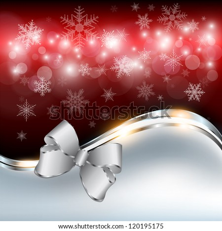 Abstract christmas background with snowflakes and a bow, vector. - stock vector