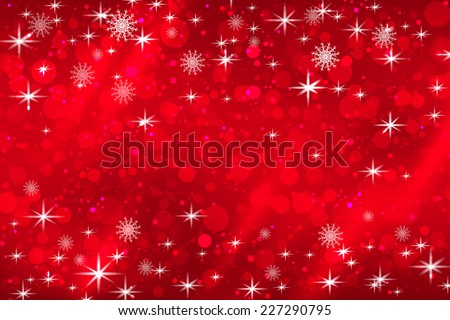 Abstract Christmas background with snowflakes and shiny stars in red and white. New year lights, starry sky - stock vector