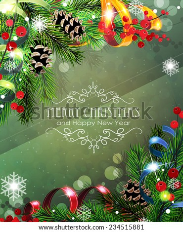 Abstract Christmas background with sparkles, ribbons, fir branches and cones - stock vector