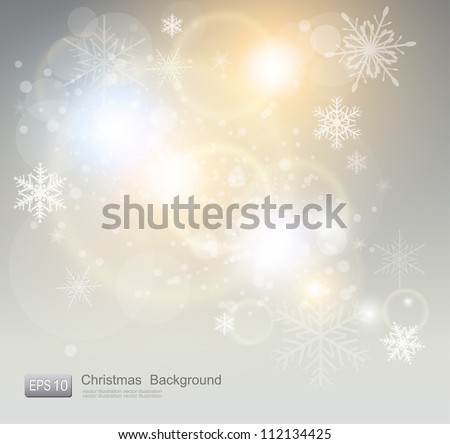 Abstract Christmas background with white snowflakes, elegant vector illustration. - stock vector