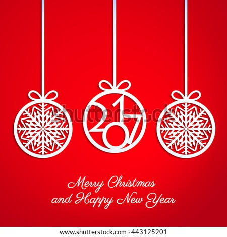 Abstract Christmas ball cut from paper on red background. Christmas and New Year greeting card in minimalistic style. New year lettering. Banner. Invitation design. Vector eps10 illustration - stock vector
