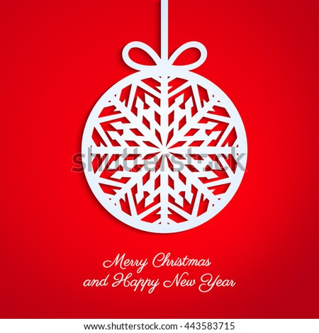 Abstract Christmas ball cutted from paper on red background. Christmas and New Year greeting card in minimalistic style. New year lettering. Banner. Invitation design. Vector eps 10 illustration - stock vector