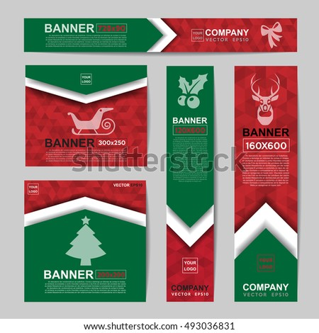 Abstract Christmas banner for Christmas Website Ads.Ratio,728x90,300x250,200x200,120x600,160x600