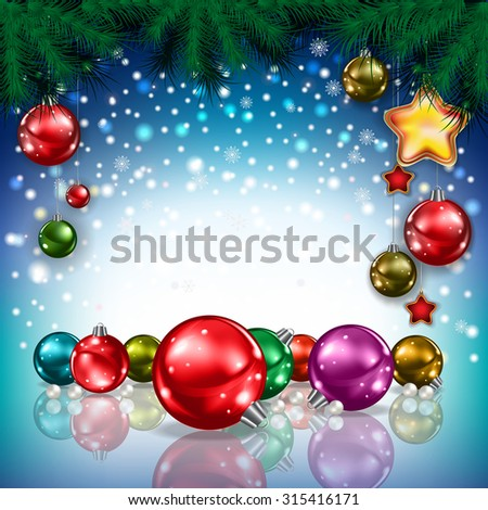 Abstract Christmas blue greeting with color decorations - stock vector