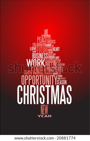 Abstract christmas card with season words on red - stock vector