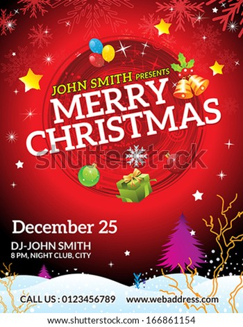 Abstract Christmas Flyer Template Vector Illustration Stock Vector