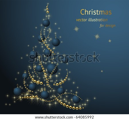 Abstract christmas fur tree with golden ball and snowflakes for xmas design.
