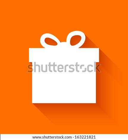 Abstract christmas gift box in flat style on orange background. Vector illustration - stock vector