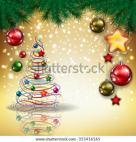 Abstract Christmas golden greeting with tree and decorations - stock vector