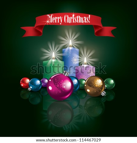 Abstract Christmas green greeting with decorations and candles - stock vector