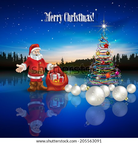 Abstract Christmas greeting with Santa Claus decorations and forest lake - stock vector