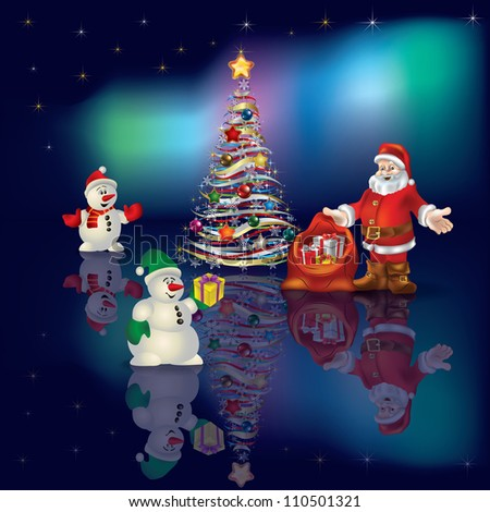 Abstract Christmas greeting with Santa Claus on aurora background - stock vector