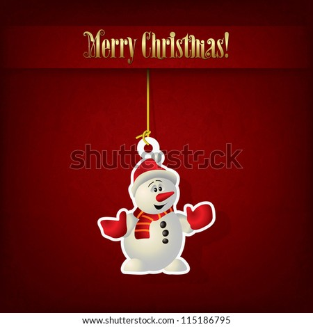 Abstract Christmas greeting with snowman on red - stock vector