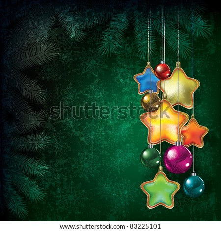 Abstract Christmas grunge background with color decorations - stock vector