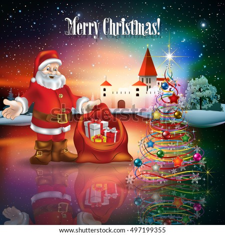 Abstract Christmas illustration with silhouette of castle and Santa Claus with gifts