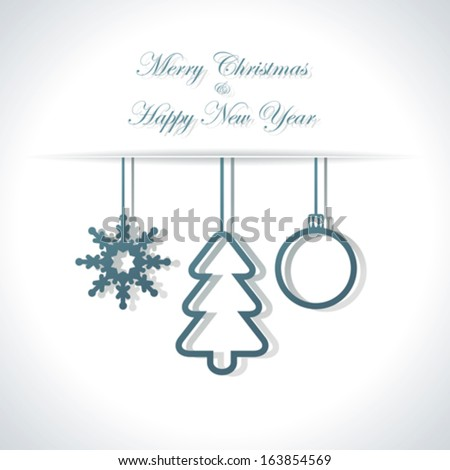 Abstract Christmas or New Year background with snowflake, christmas tree and ball