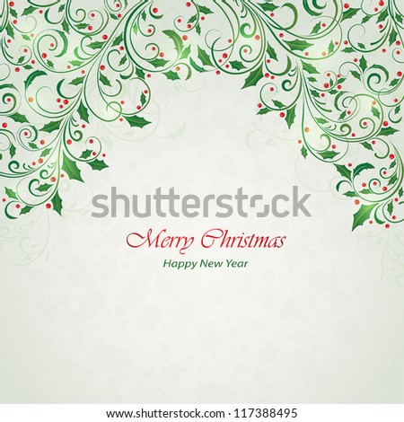 Abstract Christmas ornament with holly, Illustration. - stock vector