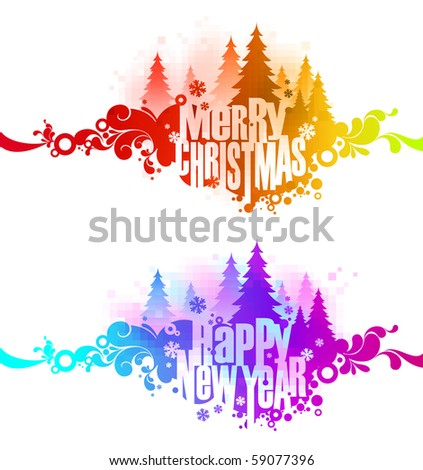Abstract christmas ornate colorful banners - stock vector